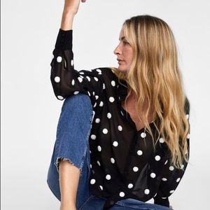 ZARA contrasting polka dot blouse